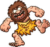 Laughing caveman. Happy cartoon caveman laughing. Vector clip art illustration with simple gradients. All in a single layer Stock Image