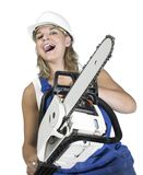 Laughing chain saw girl Stock Photos