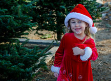 Laughing child in santa costume royalty free stock photos