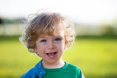 Laughing child on a summer meadow Royalty Free Stock Photo