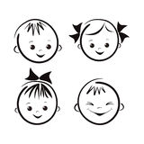Laughing children's faces. Royalty Free Stock Photo