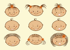 Laughing children's faces. Set. Stock Image