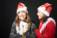 Laughing Christmas Girls Royalty Free Stock Photo