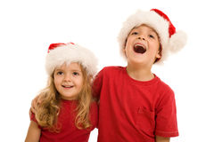 Laughing christmas kids Stock Image