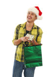 Laughing Christmas shopper Stock Image