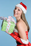 Laughing Christmas Woman Stock Photography