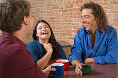 Laughing Coffee House Customers Stock Images