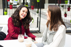 Laughing and coffee Royalty Free Stock Photography
