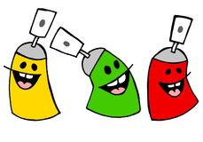 Laughing colored spray cans. Artistic cartoons of colored spray cans, laughing Royalty Free Stock Photos