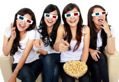 Laughing at comedy movie in 3d Royalty Free Stock Image