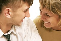 A laughing couple. stock images