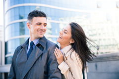 Laughing couple flirting outdoors Royalty Free Stock Photo