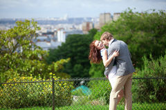 Laughing couple is hugging on Montmartre Royalty Free Stock Photography
