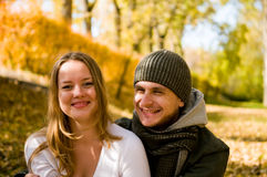 Laughing couple outdoors Stock Images