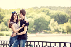 Laughing couple in a walk in the park. Outdoor photo. Happy relationship Stock Photo