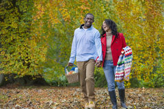 Laughing couple walking in park of autumn leaves with picnic basket Royalty Free Stock Images
