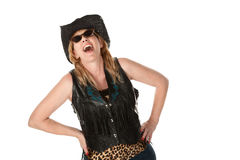 Laughing cowgirl Royalty Free Stock Image