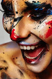 Laughing crazy Clown colorful Halloween Make-up Royalty Free Stock Image