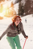 Laughing cross country skier Stock Image