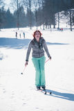 Laughing cross country skier Royalty Free Stock Photos