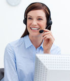 Laughing customer service agent with headset on Stock Images