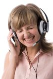 Laughing customer support girl Royalty Free Stock Image