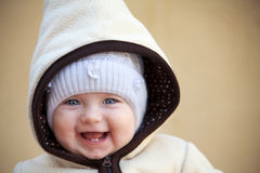 Laughing cute baby girl  outside Royalty Free Stock Photos