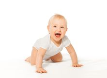Laughing cute baby wears crawl with happy smile. Laughing cute baby wearing white bodysuit on the white background Stock Photo