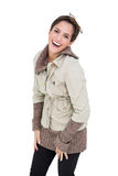 Laughing cute brunette in winter fashion posing for camera Royalty Free Stock Photo