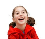 Laughing cute girl with pigtails Royalty Free Stock Photo