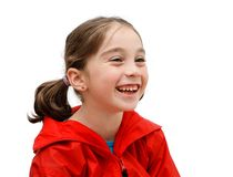 Laughing cute girl with pigtails Stock Photo