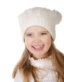 Laughing cute little girl in warm hat isolated Stock Image