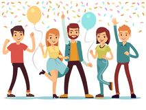 Laughing and dancing young people at party. Happy men and women celebrate important event. Vector illustration. People on party, woman and man group happiness Royalty Free Stock Images