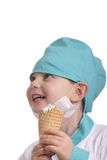 Laughing doctor with ice cream Stock Photography