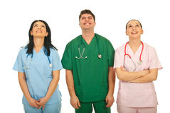 Laughing doctors looking up Royalty Free Stock Photos