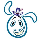 Laughing donkey in a hat with a feather and long ears.  stock illustration