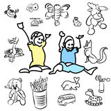 Laughing doodle Kids with sketched Toys Royalty Free Stock Images