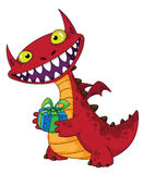 Laughing dragon and gift. Illustration of a laughing dragon and gift Royalty Free Stock Images