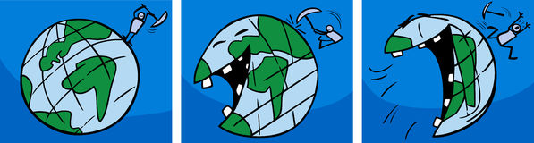 Laughing earth planet comic story Royalty Free Stock Photo