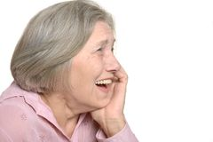 Laughing elderly woman Stock Images