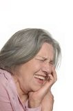 Laughing elderly woman isolated Royalty Free Stock Image