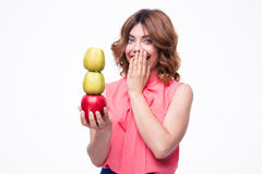 Laughing elegant woman holding apples Stock Images