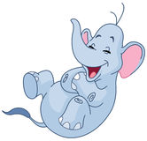 Laughing elephant. Elephant rolling on the floor laughing Royalty Free Stock Images