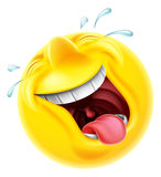 Laughing Emoji Emoticon. A very happy laughing emoji emoticon smiley face character laughing so hard tears are shooting out Royalty Free Stock Images