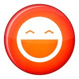 Laughing emoticon, flat style Royalty Free Stock Images