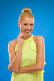 Laughing and excited woman looking at camera. Royalty Free Stock Images