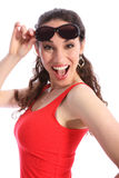 Laughing excited young woman happy in sunglasses Royalty Free Stock Photo