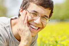 Laughing face closeup outdoors Royalty Free Stock Photography