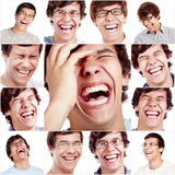 Laughing face collage. Happy laughing face close up of young man. Laughter and smiles photo collection Royalty Free Stock Photography