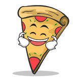 Laughing face pizza character cartoon. Vector illustration Royalty Free Stock Images